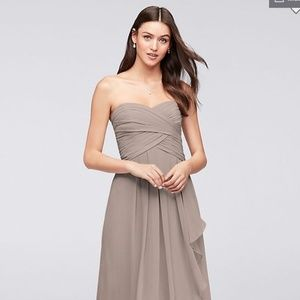 Strapless Crinkle Chiffon Dress with Cascade Skirt